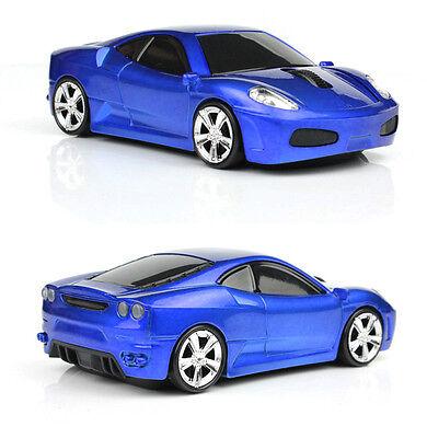 BLUE 2.4GHz Wireless 3D 1600DPI Ferrari Car Shape Optical Usb Mouse UK STOCK