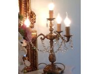 Pair French candelabra table lamps lead crystal droplets £110 no offers