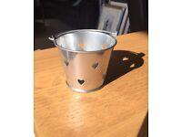 10 mini heart pail tealight holders - wedding