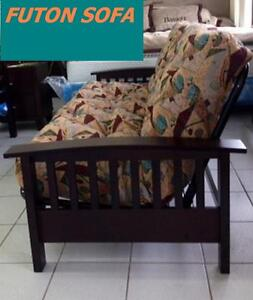 SOFA BED FUTON EXPRESSO WOOD AND BLACK METAL VERY STRONG $399