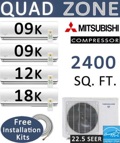 48000 Btu Quad Zone Ductless Mini Split Air Conditioner 9000 X 2 + 12000 + 18000