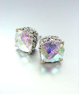 Iridescent Crystal - Designer PETITE Silver Gold Balinese Filigree Iridescent AB CZ Crystal Earrings