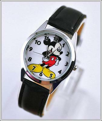 Mickey Mouse Wrist Watch -  Disney's Mickey Mouse Genuine Black Leather Band Wrist Watch