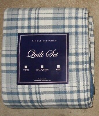 Greenland Home Fashions Bird Abstract Blue Full/Queen 3 Pc Quilt Set NWT