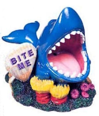 BiteMe Shark Aquarium Ornament Fish Tank pet FREE GIFTS
