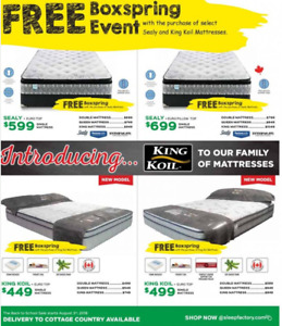 FREE BOXSPRING WITH SEALY & KING KOIL POCKET COIL MATTRESSES !!!