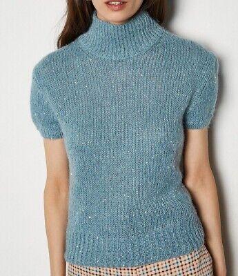 Karen Millen Sequin Short Sleeve Jumper Size 8  XS/S Blue
