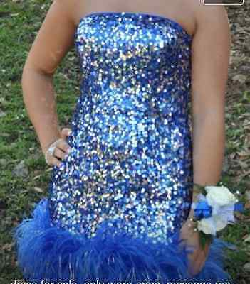 Royal Blue Prom Party  Strapless Sequin Short Dress with Ostrich Feathers Size 6 - Party Dress With Feathers