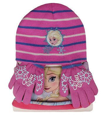 DISNEY Frozen Winterset - Handschuhe Bandana Mütze - 3 Teile - Eiskönigin Elsa