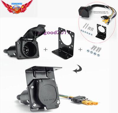UA1427 4 Pin to 7 Pin RV Tail Lamp Harness Adapter Trailer Wiring Plug (7 Pin To 4 Pin Trailer Wiring Adapter)