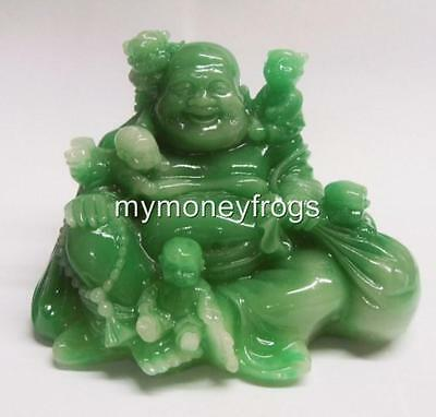 Chinese FENG SHUI Lucky Green Jade Happy FERTILITY Money Sitting Buddha with Kid