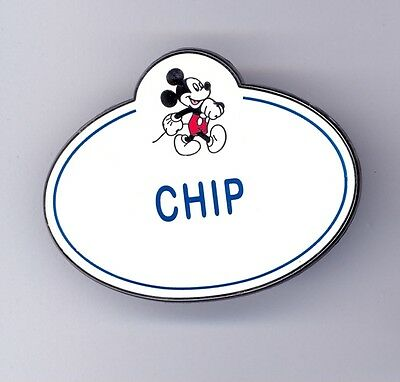 Walt Disney Studios Burbank CHIP & Dale Cast Name Tag Vintage Mickey Design Pin Studio Cast Designs