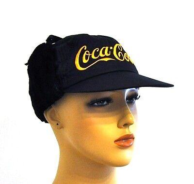 Coca Cola Trapper Hat warme Baseball Cap Kappe Mütze Käppi m Ohrenwärmer schwarz