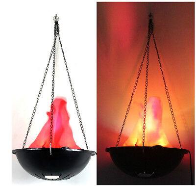 LED Hanging Fake Flame Lamp Light Fire Pot Bowl Xmas Festival Celebration Decors (Hanging Flame Light)