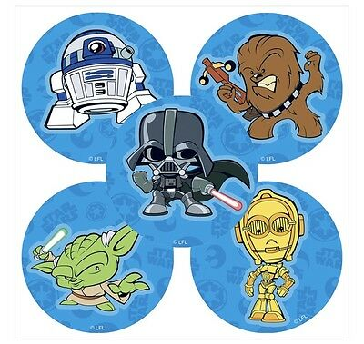 25 Star Wars Pop  Stickers Party Favors Teacher Supply  Yoda Darth Vadar