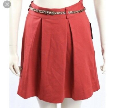 Tommy Hilfiger Skirt Tahitian Red Pleated Animal Leopard Print Belt Womens 16 Belted Animal Print Skirt