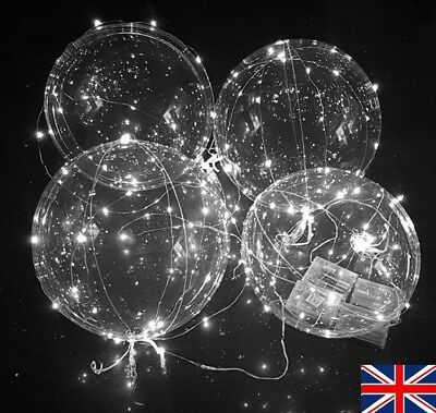 Clear Transparent Balloons with White LED Fairy Light Chain - Party Decoration - Balloons With Lights
