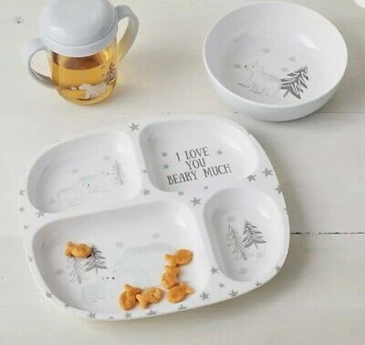 New Pottery Barn Kids Polar Bear Baby Feeding Set Plate Bowl Sippy Cup Set