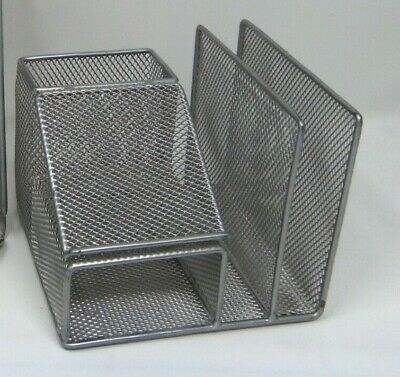 Rubbermaid 4 Section Desk Organizer Silver Wire Mesh Office Supply