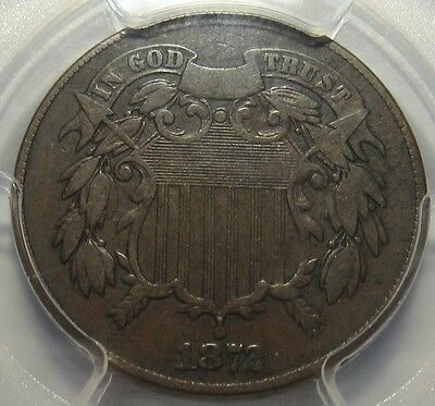 = 1872 PCGS F12 Two Cent Piece, Super Color & Details, FREE Shipping