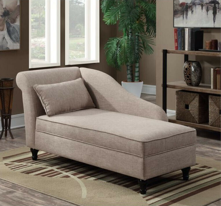 chaise lounge beige fabric left back lounger