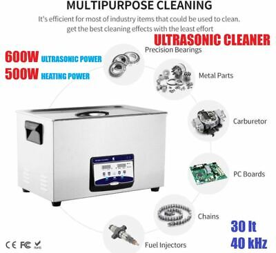 30l Ultrasonic Cleaner Heated Solution 600w Sonic Bath Tools Jewelry Dental Auto