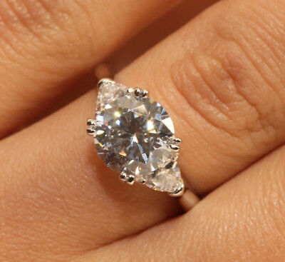 2CT ROUND CUT DIAMOND ENGAGEMENT RING 18K WHITE GOLD FINISH FOR WOMEN SIZE 6