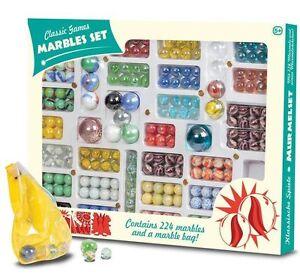 Toy Marble Set 224pc Boxed (20592)Retro Vintage Coloured