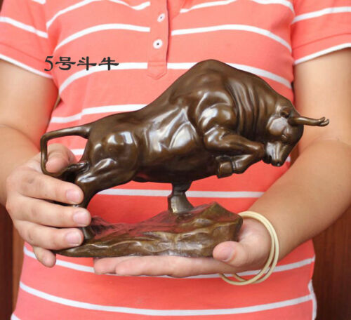 "Medium size  Bronze coffee Wall Street Fierce Bull OX  Figure Statue 9""Long"