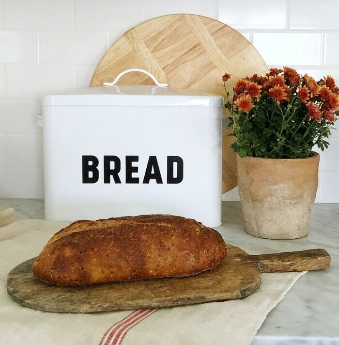 Metal Bread Box - Large Space-Saving, White, High Capacity Storage Bin