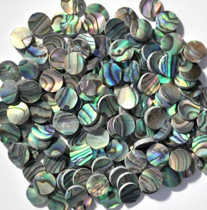 50 Inlay Dots in Paua Abalone 7mm x 1.5mm thickness