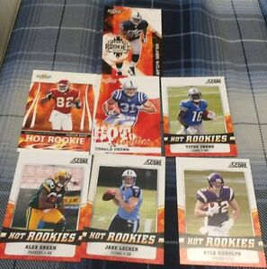 7 Different Score Hot Rookie Football Cards - A Green, J locker.