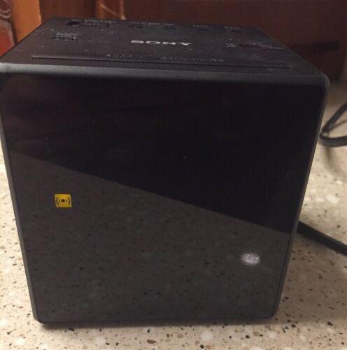 Sony AM FM Cube Alarm Clock Radio Black Brightness Auto DST Great Deal!