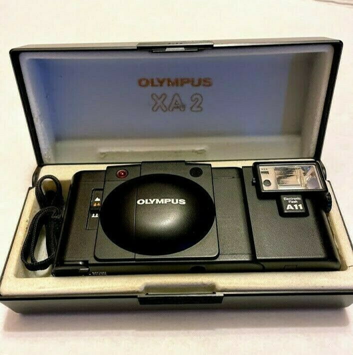 Olympus XA2 35 mm Camera with A11 Electronic flash, includes original case