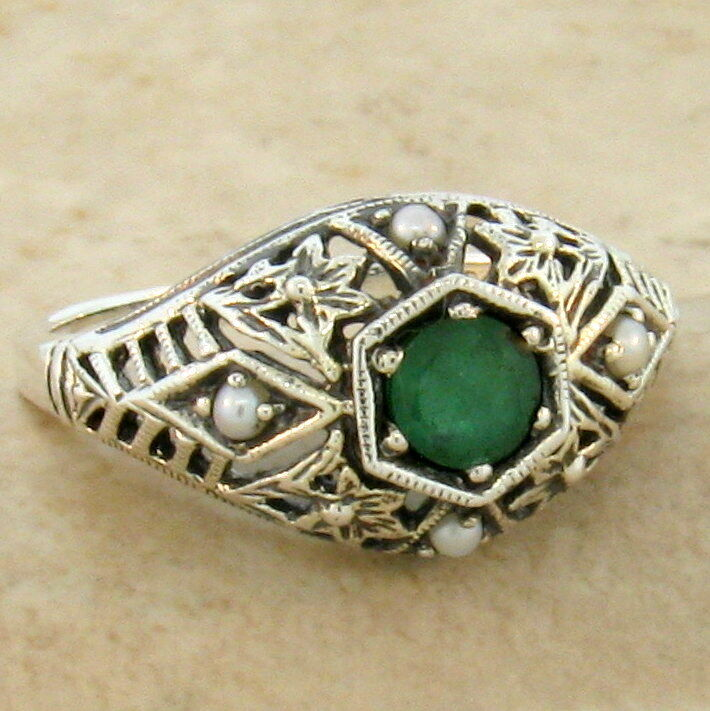 GENUINE EMERALD & PEARL ANTIQUE STYLE .925 STERLING SILVER RING,   #454