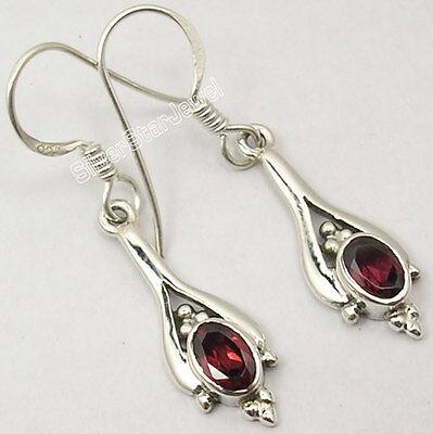 """925 Pure Silver CUT GARNET GEMSTONE LOVELY Dangle LONG Earrings 1.4"""" OXIDIZED"""