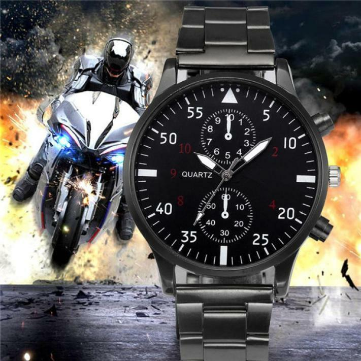 Men's Crystal Luxury Stainless Steel Band Quartz Sport Dial Wrist Watch Watches