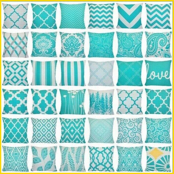 PILLOW COVER Vintage Linen Turquoise Home Decor Sofa Bedding