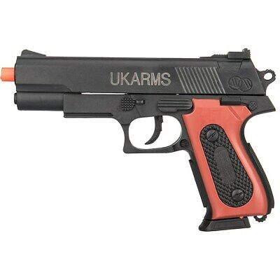 UKARMS Airsoft Gun M37AS Scorpion Spring Pistol w// Folding Stock Faux Wood Grip