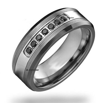 Black Diamond Tungsten Carbide Men's Wedding Ring Band 8mm classic engagement (Diamond Tungsten Carbide Band)