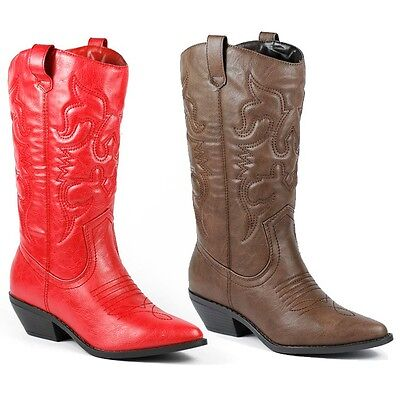 Faux Leather Cowboy Western Mid-Calf Riding Boot SODA Reno-s Red Brown  Cowboy Mid Calf Boot