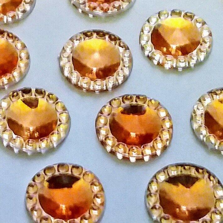 30 pcs. 12mm round orange rhinestone flatback embellishments