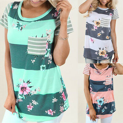 Summer Womens Fashion Striped Floral Print Short Sleeve O Neck Blouse T Shirt