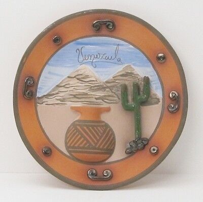 Red Clay Art Pottery South West Plate w/ Cactus Quibor Venezuela Signed T. Santa