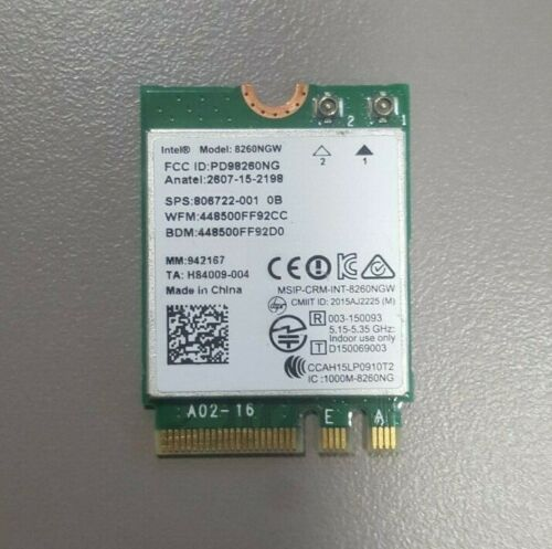 HP 806722-001 Intel Dual Band Wireless-AC 8260 8260NGW Bluetooth