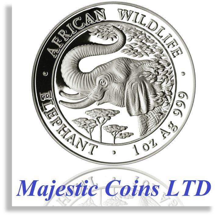 2005 Somalia Elephant SilverAfrican Wildlife 1 Oz .999