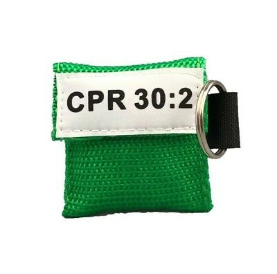 20 Green Cpr Face Shield Mask In Pocket Keychain