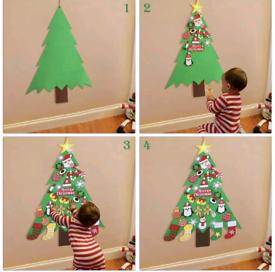 32PCS Felt Christmas Tree DIY Hanging Ornaments Wall Decor for Kids Xm