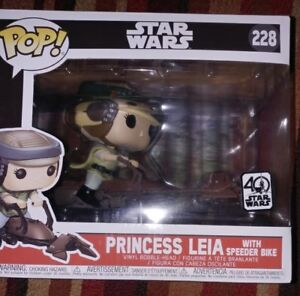 Funko Pop Star Wars Princess Leia With Speeder Bike 40th