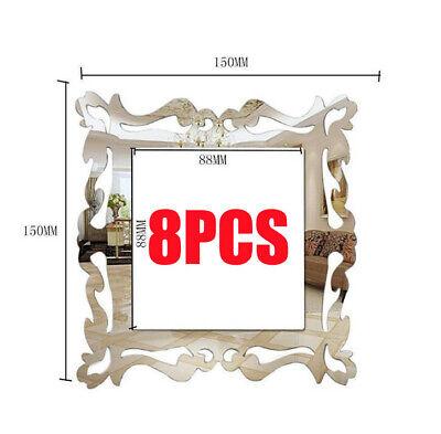 8Pcs Light Switch Surround Socket Plate Panel Wall Sticker Mirror Decor Modern
